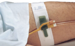 Dale Hold-n-Place® Leg Band holding a Foley catheter line